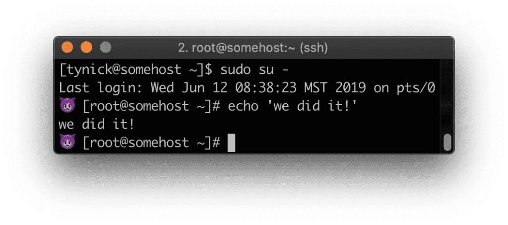 Root prompt
